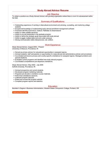 Study Abroad Advisor Resume Great Sample Resume