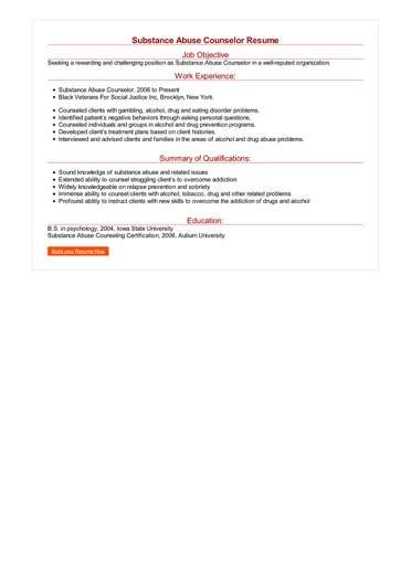 Substance Abuse Counselor Resume Great Sample Resume