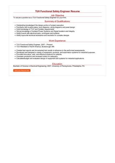 TUV Functional Safety Engineer Resume Great Sample Resume