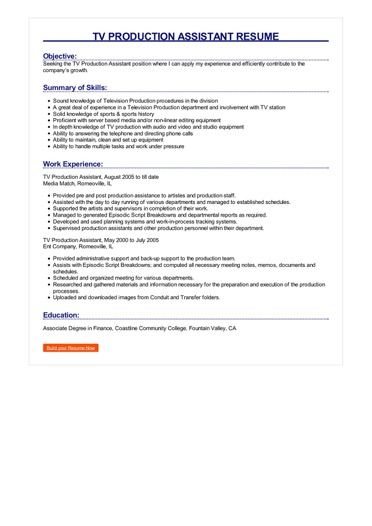TV Production Assistant Resume Great Sample Resume
