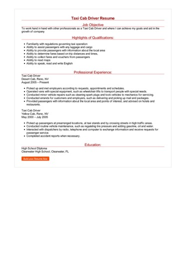 Taxi Cab Driver Resume Great Sample Resume