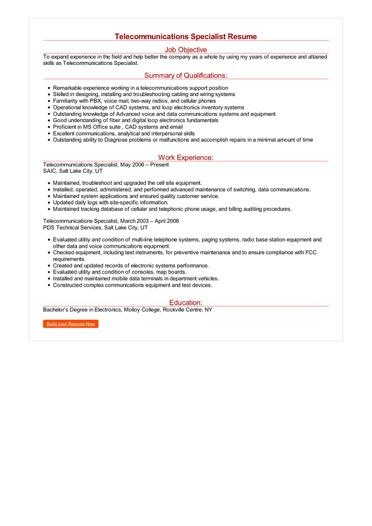 Telecommunications Specialist Resume Great Sample Resume