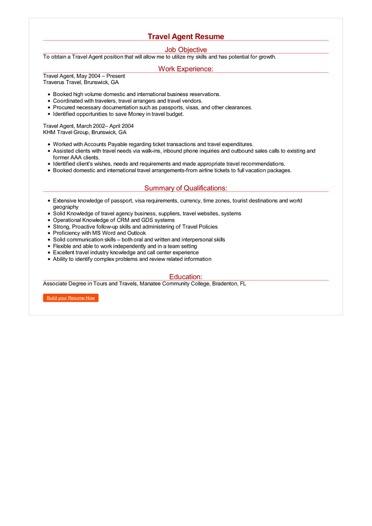 Travel Agent Resume Great Sample Resume
