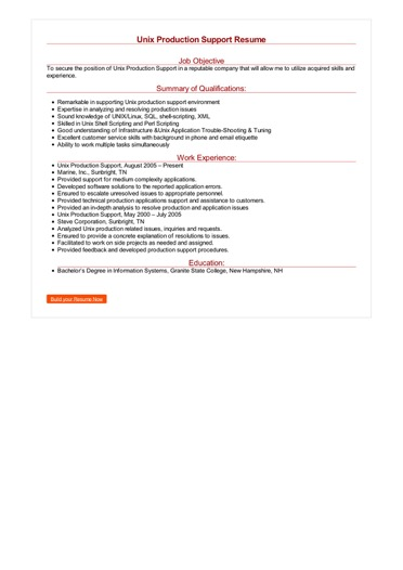 Unix Production Support Resume Great Sample Resume