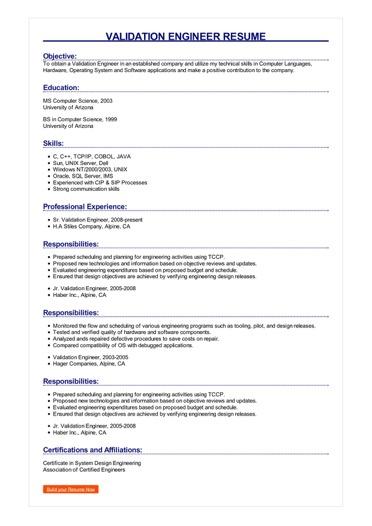 Validation Engineer Resume Great Sample Resume