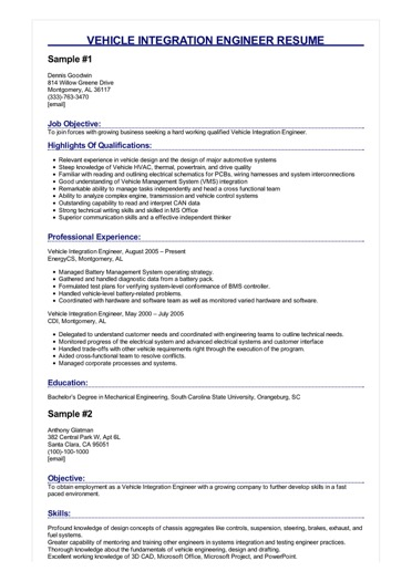 Vehicle Integration Engineer Resume Great Sample Resume