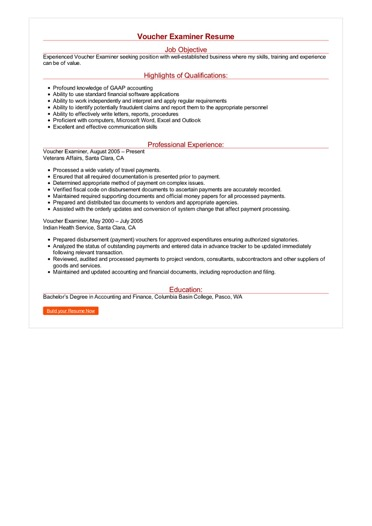 Voucher Examiner Resume Great Sample Resume