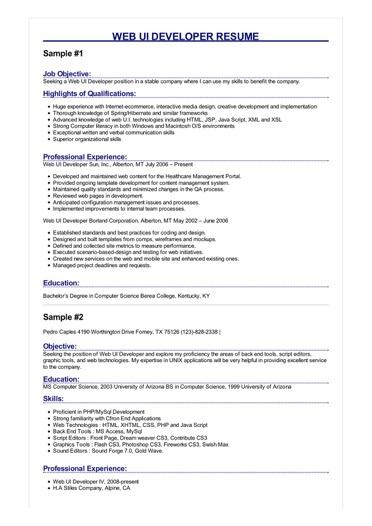 Web UI Developer Resume Great Sample Resume