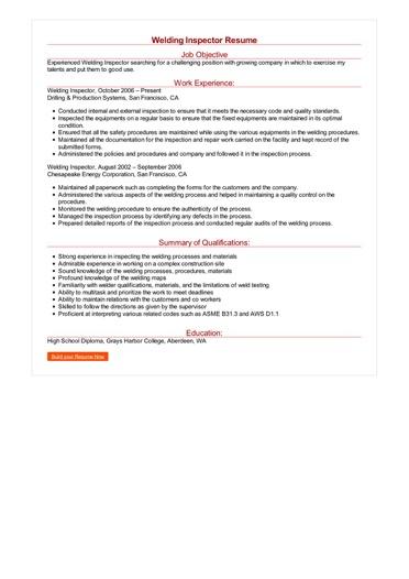 Welding Inspector Resume Great Sample Resume