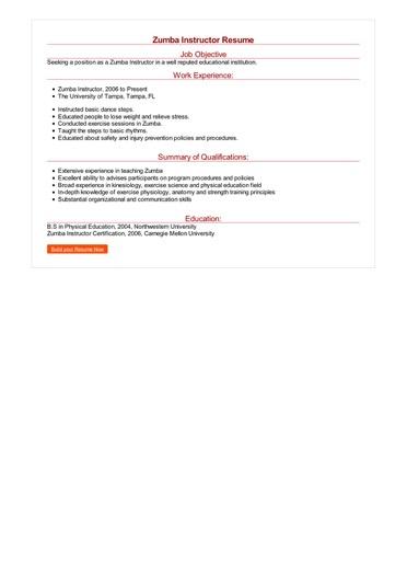Zumba Instructor Resume Great Sample Resume