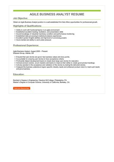 Agile Business Analyst Resume Sample \u2013 Best Format