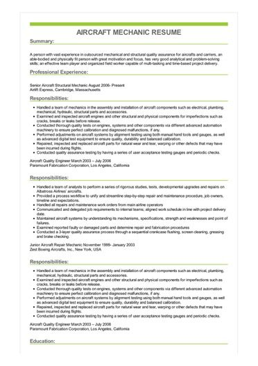 Sample Aircraft Mechanic Resume