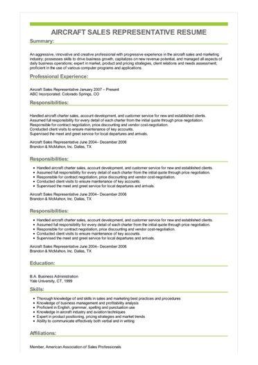 Sample Aircraft Sales Representative Resume