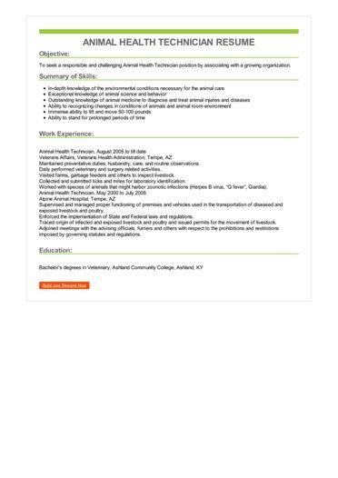 Animal Health Technician Resume Sample \u2013 Best Format