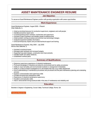 Sample Asset Maintenance Engineer Resume