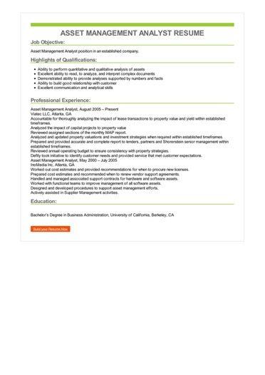 Asset Management Analyst Resume Sample \u2013 Best Format