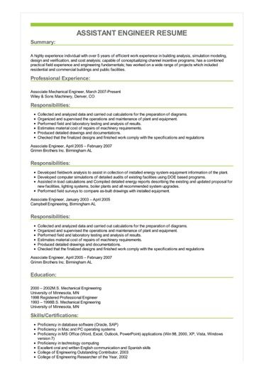 Sample Assistant Engineer Resume