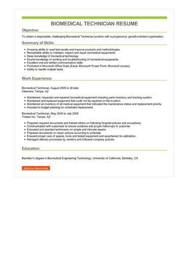 Biomedical Technician Resume Sample \u2013 Best Format