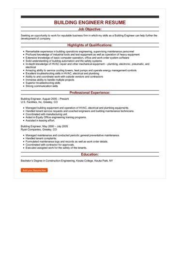 Sample Building Engineer Resume