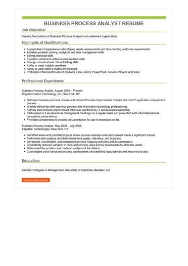 Business Process Analyst Resume Sample \u2013 Best Format