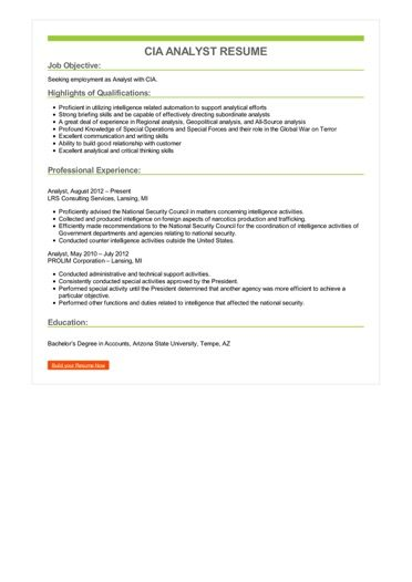 CIA Analyst Resume Sample \u2013 Best Format