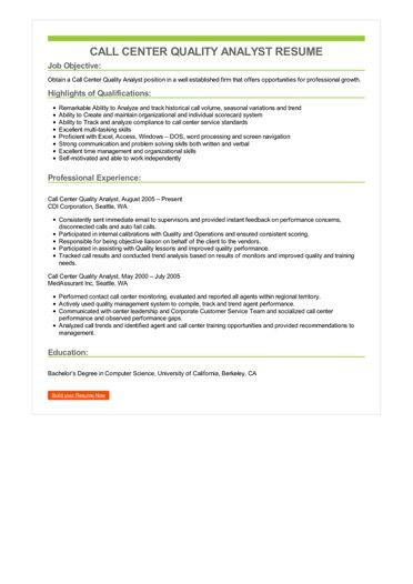 Call Center Quality Analyst Resume Sample \u2013 Best Format