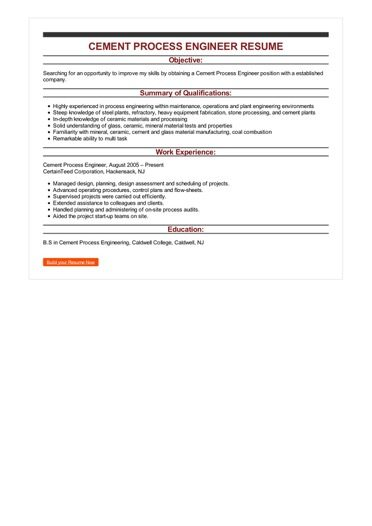 Sample Cement Process Engineer Resume