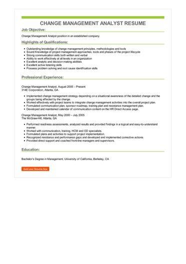 Change Management Analyst Resume Sample \u2013 Best Format
