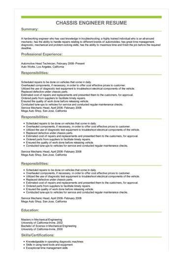 Sample Chassis Engineer Resume