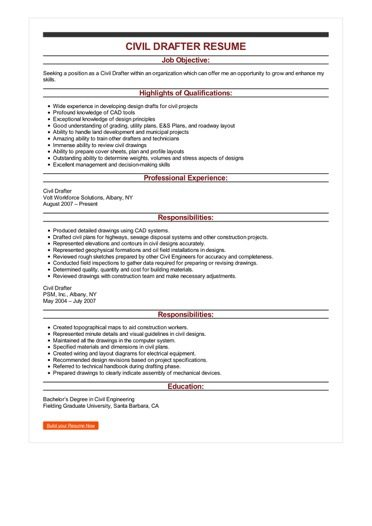 Sample Civil Drafter Resume