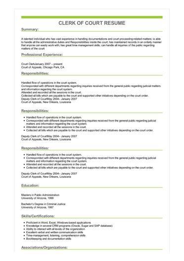 Sample Clerk Of Court Resume