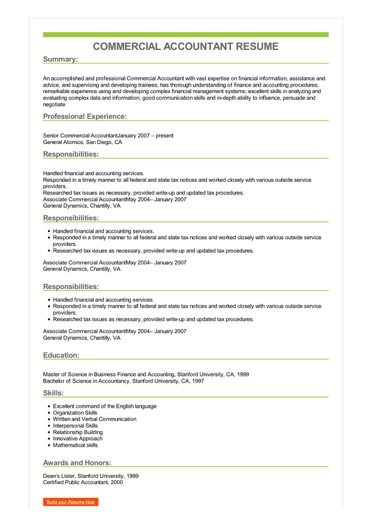 Sample Commercial Accountant Resume