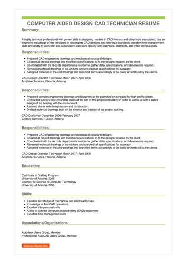 Sample Computer Aided Design CAD Technician Resume
