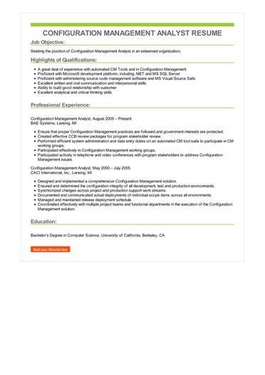 Configuration Management Analyst Resume Sample \u2013 Best Format