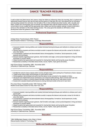 Sample Dance Teacher Resume