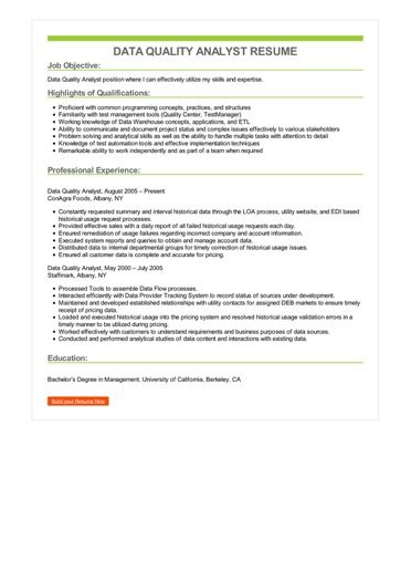 Data Quality Analyst Resume Sample \u2013 Best Format