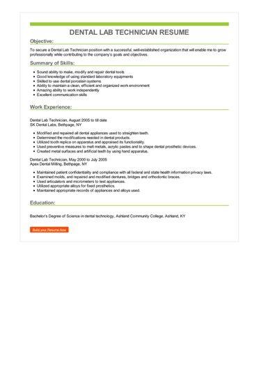 Dental Lab Technician Resume Sample \u2013 Best Format