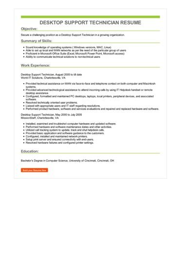 Desktop Support Technician Resume Sample \u2013 Best Format