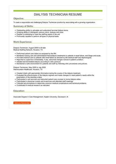 Dialysis Technician Resume Sample \u2013 Best Format