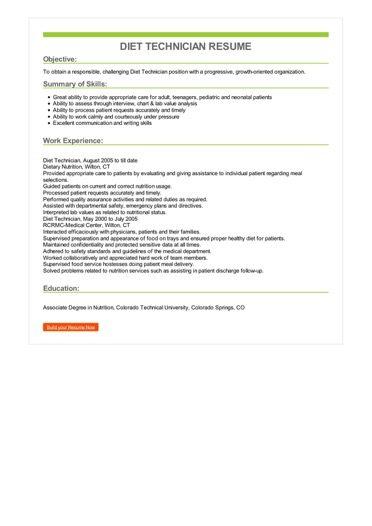 Diet Technician Resume Sample \u2013 Best Format