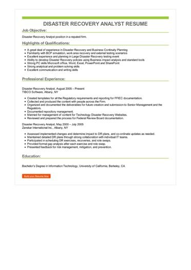 Disaster Recovery Analyst Resume Sample \u2013 Best Format