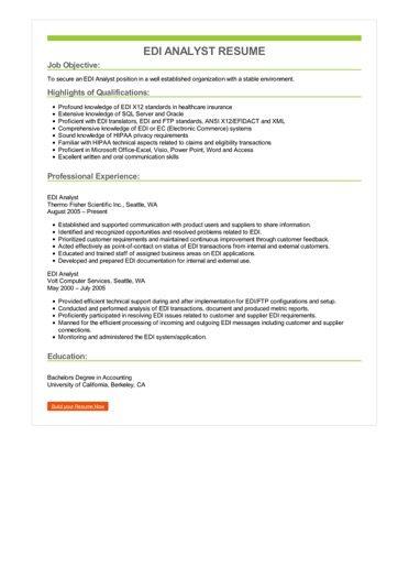 EDI Analyst Resume Sample \u2013 Best Format