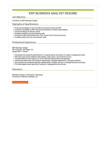 ERP Business Analyst Resume Sample \u2013 Best Format