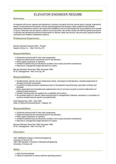 elevator engineer resume sample
