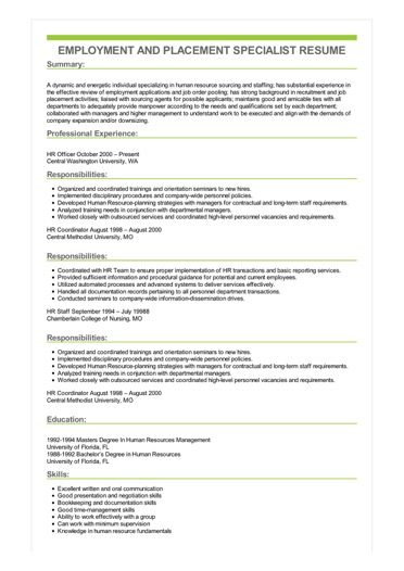 Sample Employment And Placement Specialist Resume