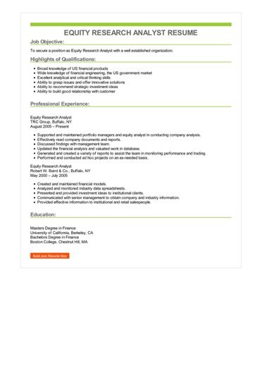 Equity Research Analyst Resume Sample \u2013 Best Format