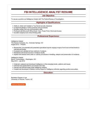 FBI Intelligence Analyst Resume Sample \u2013 Best Format