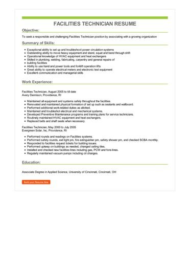 Facilities Technician Resume Sample \u2013 Best Format