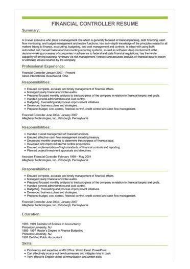 Sample Financial Controller Resume
