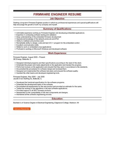 2 Firmware Engineer Resume Samples